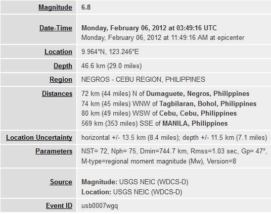 Details des Erdbenens auf Bohol am 06.02.2012