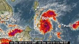 Taifun Bopha nimmt Kurs auf Bohol, Philippinen