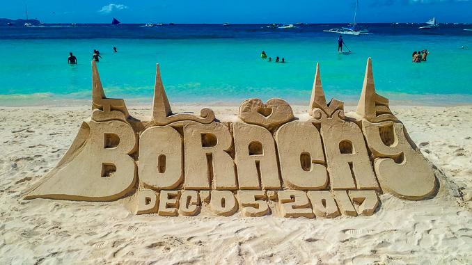 Sandburg am white Beach auf Boracay 2017