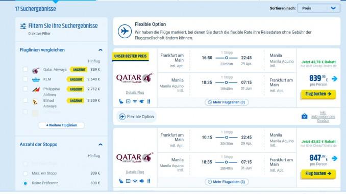 Flugpreise Philippinen