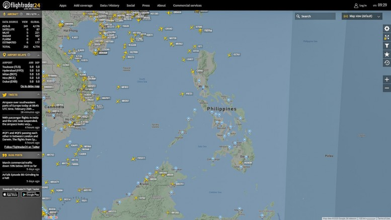 Flugverkehr Philippinen am 25.03.2020