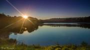 Sonnenuntergang am Badesee in Deutschland